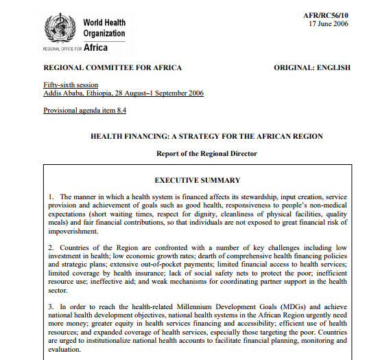 Health Financing: A Strategy for the African Region AFR/RC56