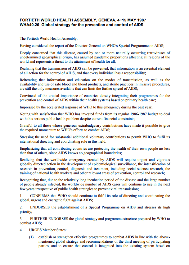 WHA40.26 Global strategy for the prevention and control of AIDS [102.76 kB]
