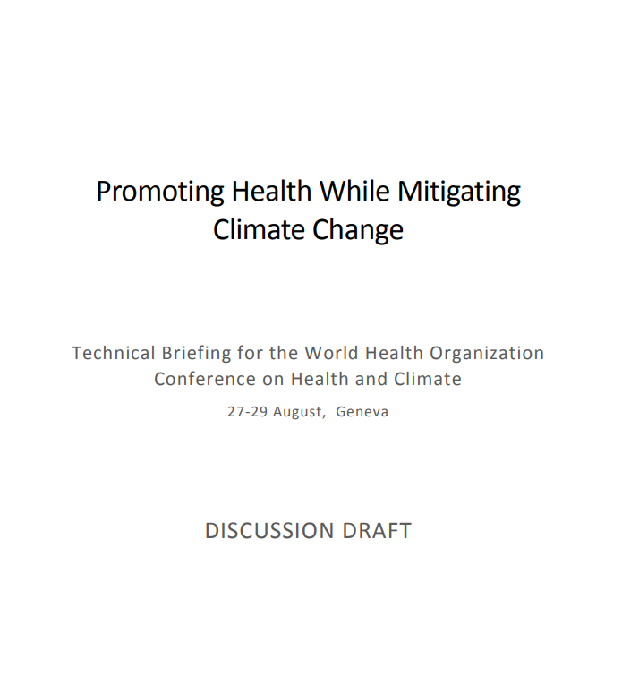 Scope and purpose of the paper  This is one of two technical background papers prepared as a basis for discussion at the WHO Health and Climate Conference. It provides a brief summary of the available evidence on the health impacts (co-benefits and risks) of climate change mitigation strategies, and an outline of the necessary health sector responses that may contribute to optimizing co-benefits while mitigating risks.  The accompanying paper provides a brief summary of the available evidence on the health