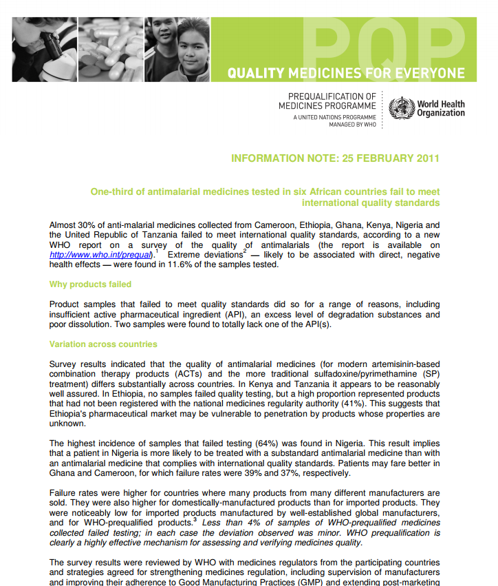 One-third of antimalarial medicines tested in six African countries fail to meet international quality standards - Information Note: 25 February 2011