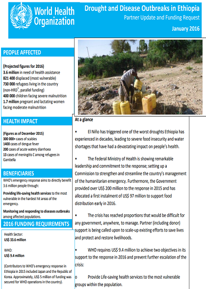 Ethiopia Partner Engagement for El Niño response