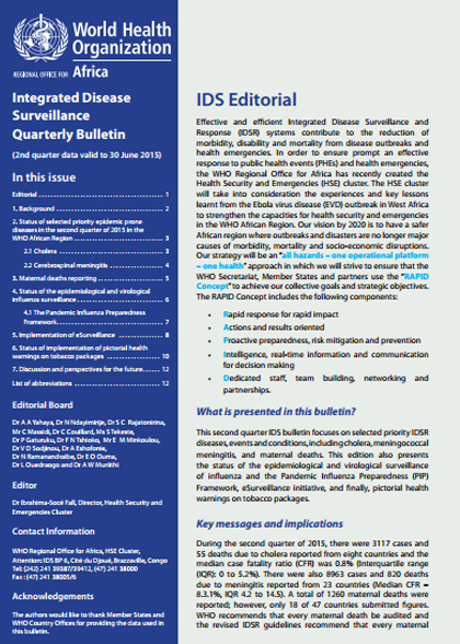 Integrated Disease Surveillance Quarterly Bulletin (2nd quarter data valid to 30 June 2015)