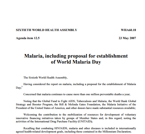 WHA60.18: Malaria including proposal for establishment of World Malaria Day