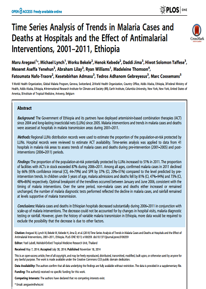 The impact of malaria control interventions in Ethiopia 2001-2011