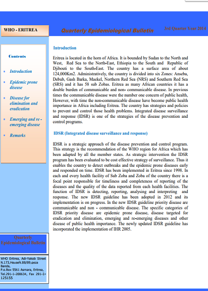 WHO Eritrea quaterly Epidemiological Bulletin - September 2014