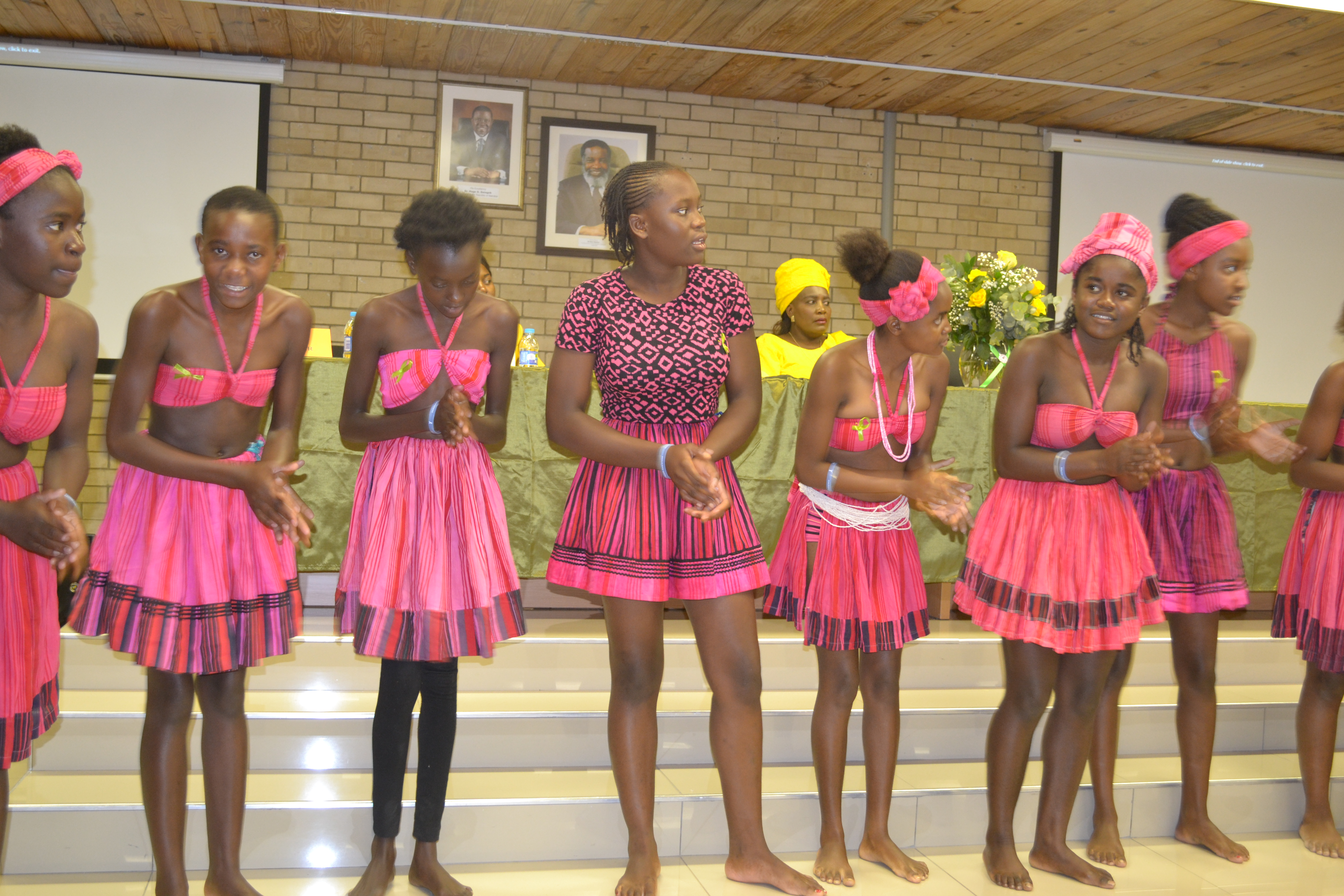 Learners from the David Bezuidenhout High School performing a traditional dance at the public lecture on World Mental Health Day