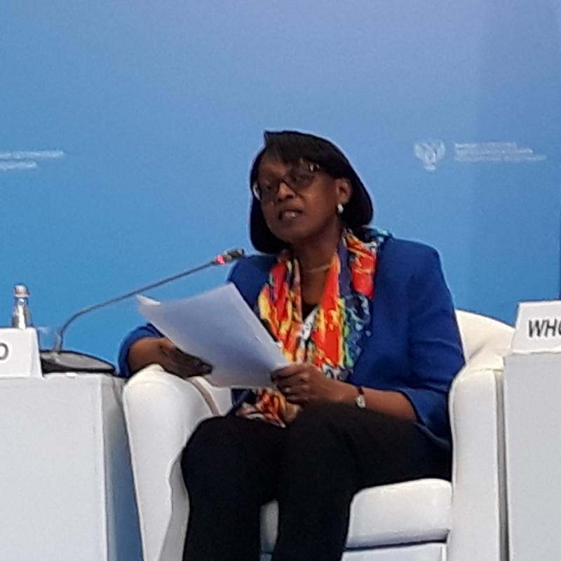 Dr Moeti delivering her speech at the first WHO Global Ministerial Conference on ending TB in the sustainable development era
