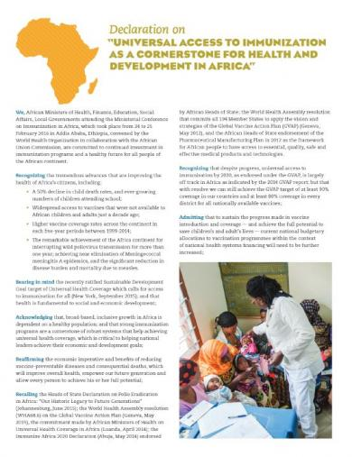 "Declaration on ""UNIVERSAL ACCESS TO IMMUNIZATION AS A CORNERSTONE FOR HEALTH AND DEVELOPMENT IN AFRICA"""