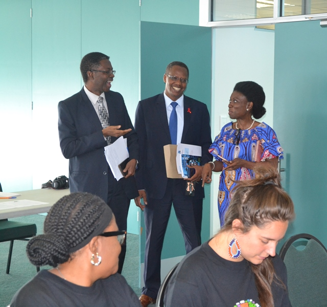 Dr Sagoe-Moses and Dr Barihuta with Madam Kiki Gbeho UN Resident Coordinator having a chat before the lecture on mental health in the workplace