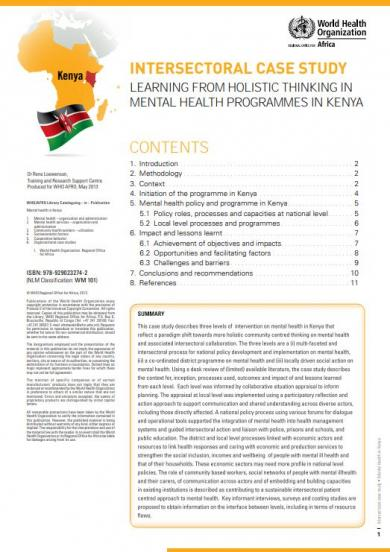 Learning from Holistic thinking in Mental Health Programmes