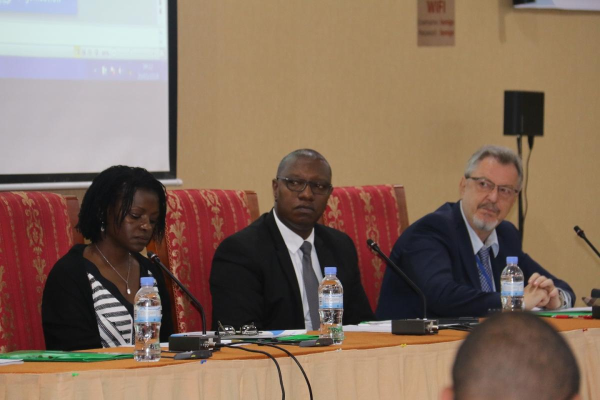 Rwanda's Minister of State for Public and Primary Health care, Dr. Patrick Ndimubanzi flanked by WHO Rwanda OIC Dr Dr Juliet Bataringaya and UNICEF Representative to Rwanda Mr Ted Maly at the official opening of the 2018 IST/ESA EPI Managers' Meeting