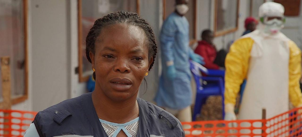 Dr Marie-Claire Kolie on site at an Ebola treatment facility