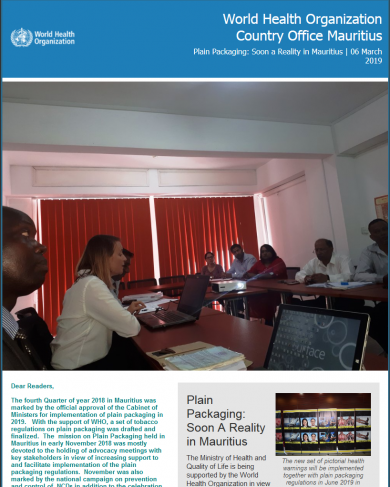 WHO Mauritius e-Newsletter 06 March 2019: Plain Packaging Soon A Reality in Mauritius