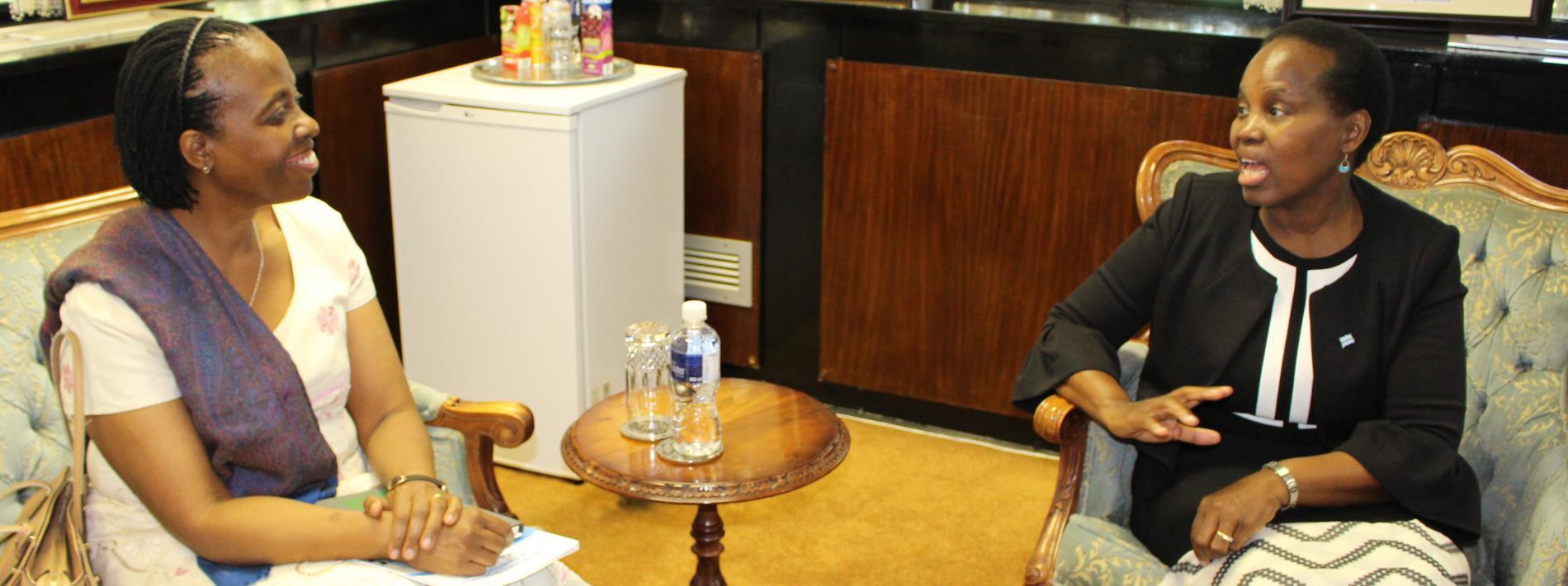 Dr Josephine Namboze, the new WR to Botswana, presents her