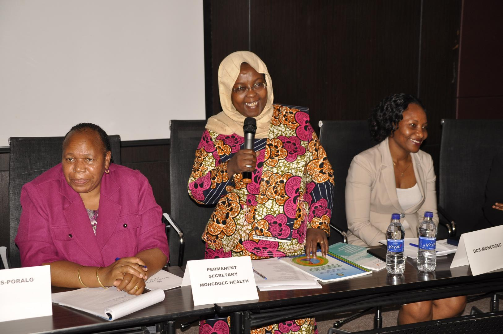 Dr. Zainab Chaula, Permanent Secretary for Health delivering remarks during the NCD multistakeholder meeting