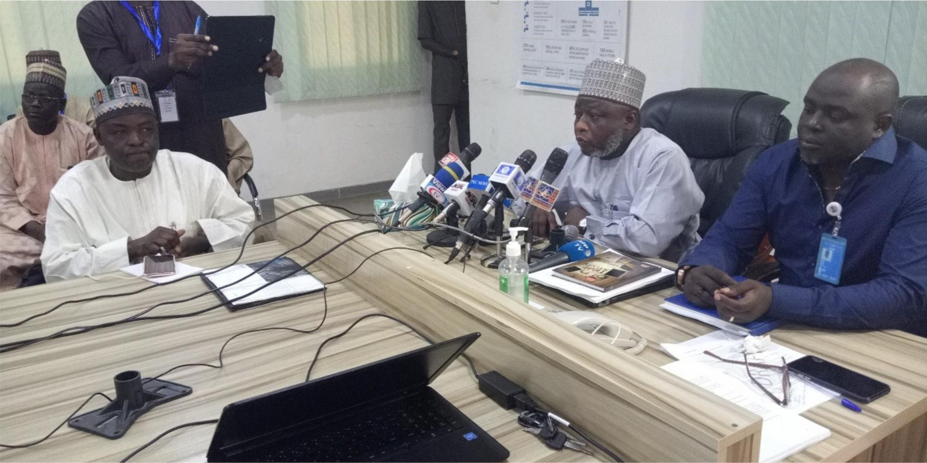 Borno Commissioner for Health and WHO Emergency Manager Dr. Owili in a Press briefing on COVID-19 Maiduguri. Photo_WHO_C. Onuekwe.jpg