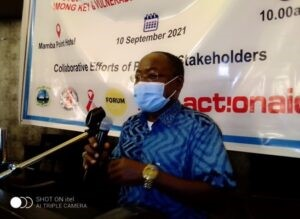 Dr. Moses Jeuronlon,WHO DPC Technical Lead making remarks during the launch of the IBBSS report in Monrovia