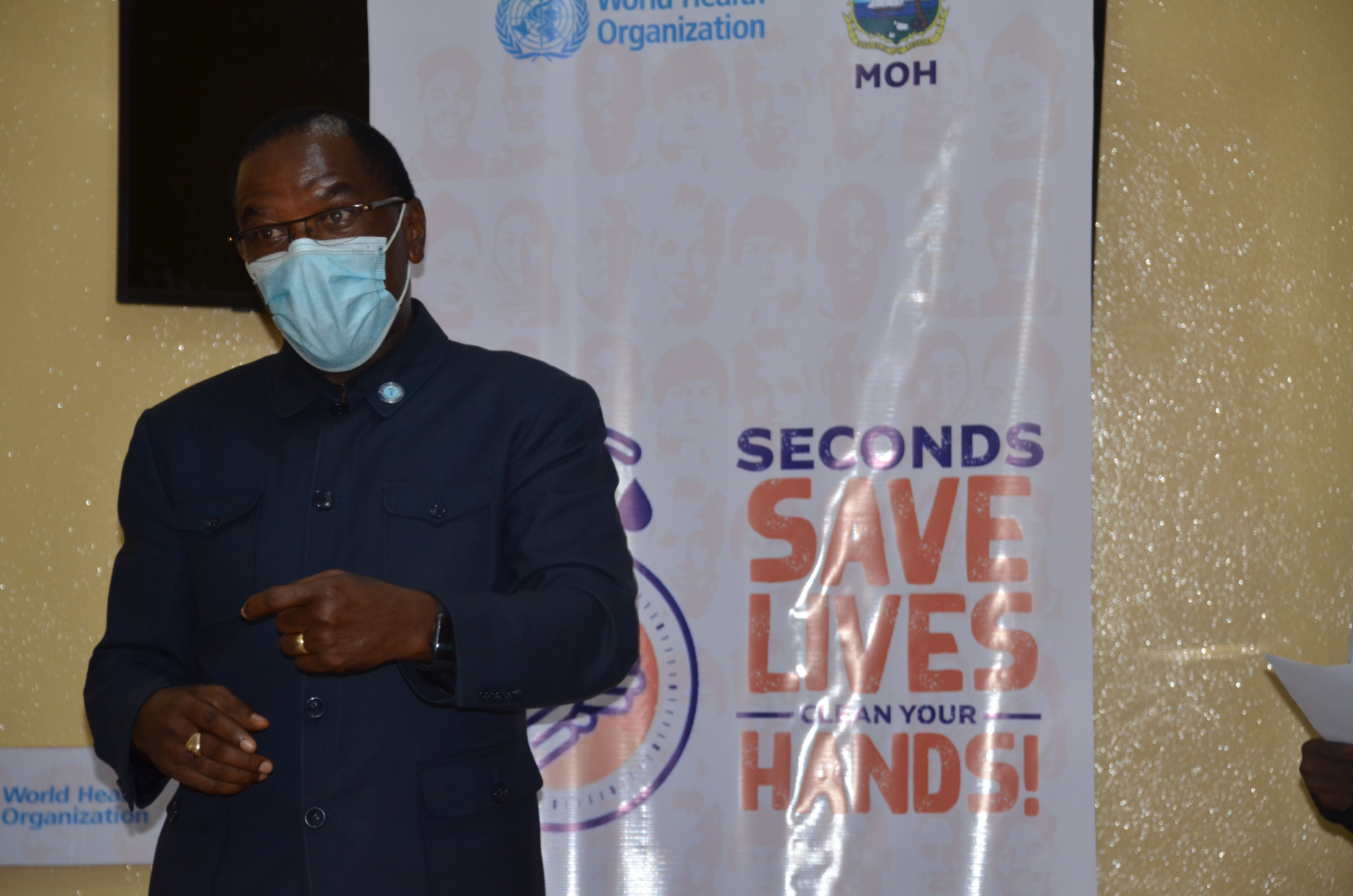 Dr. Kateh, Dep.Health Min and CMO giving the keynote address during the commemoration of global hand hygiene day in Monrovia