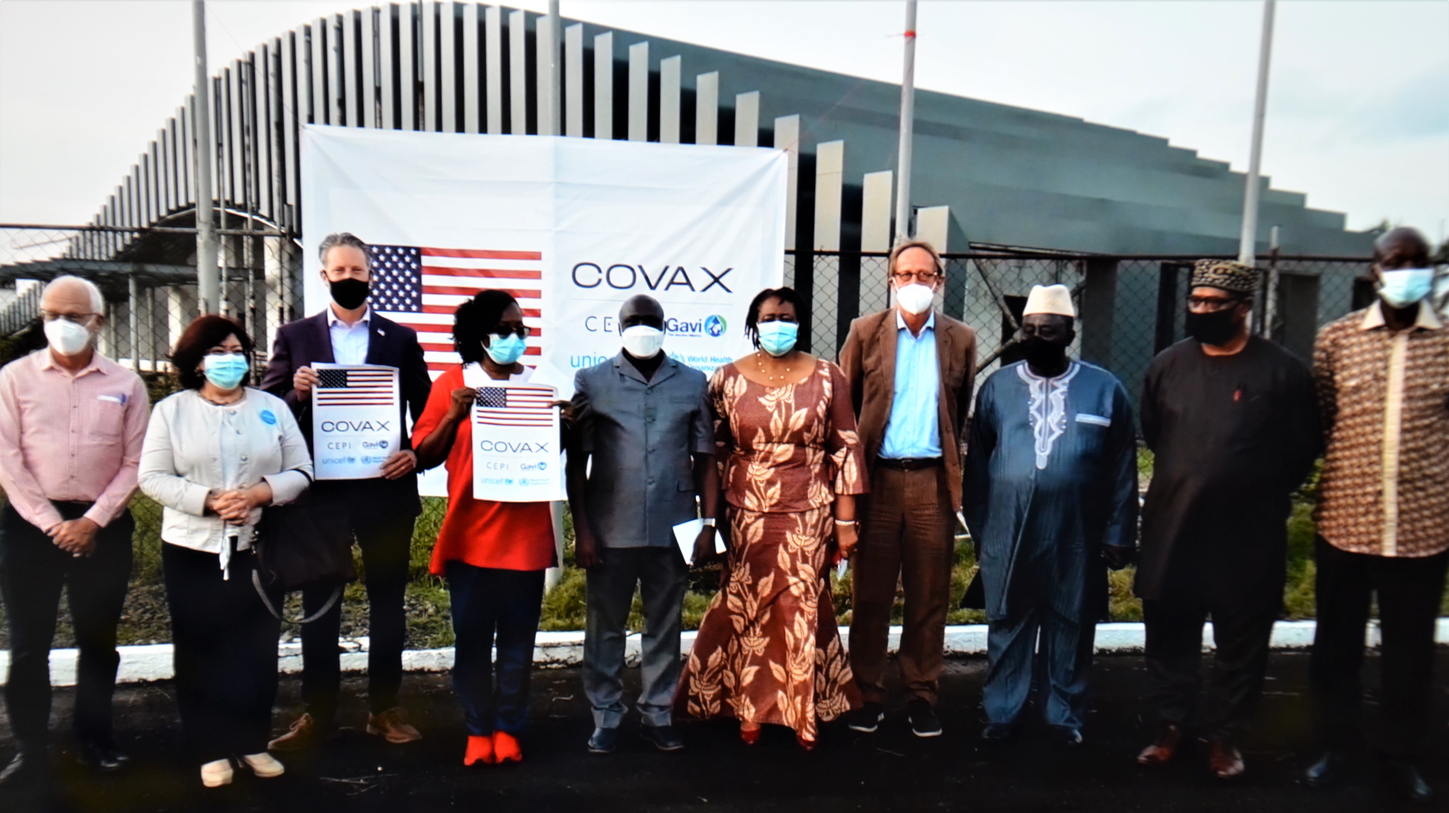 Key stakeholders during the arrival of the J&J Covid-19 vaccine in Liberia