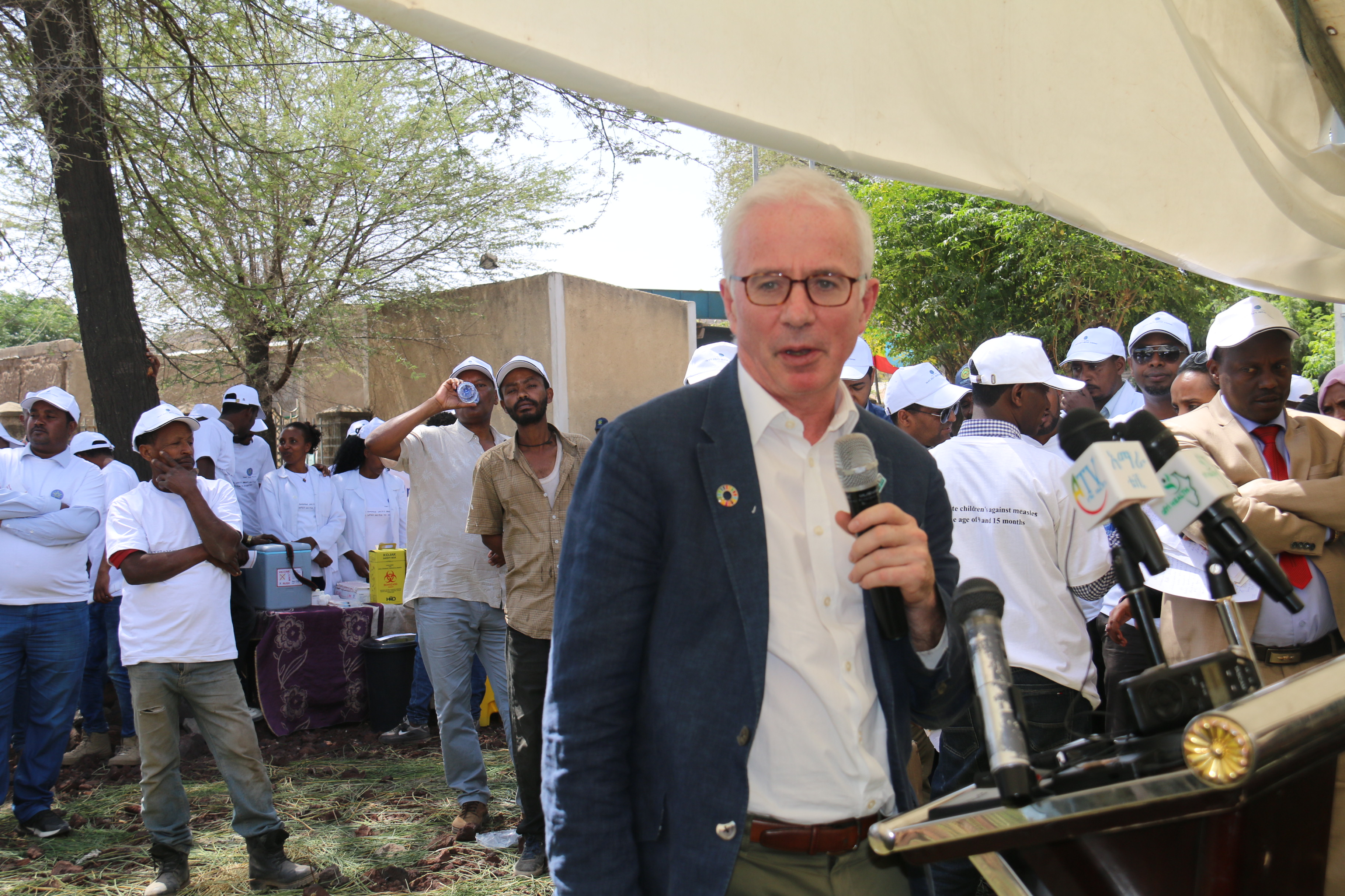Global Fund Executive Director, Peter Sands delivering remark during the MCV2 vaccination launching in Ethiopia