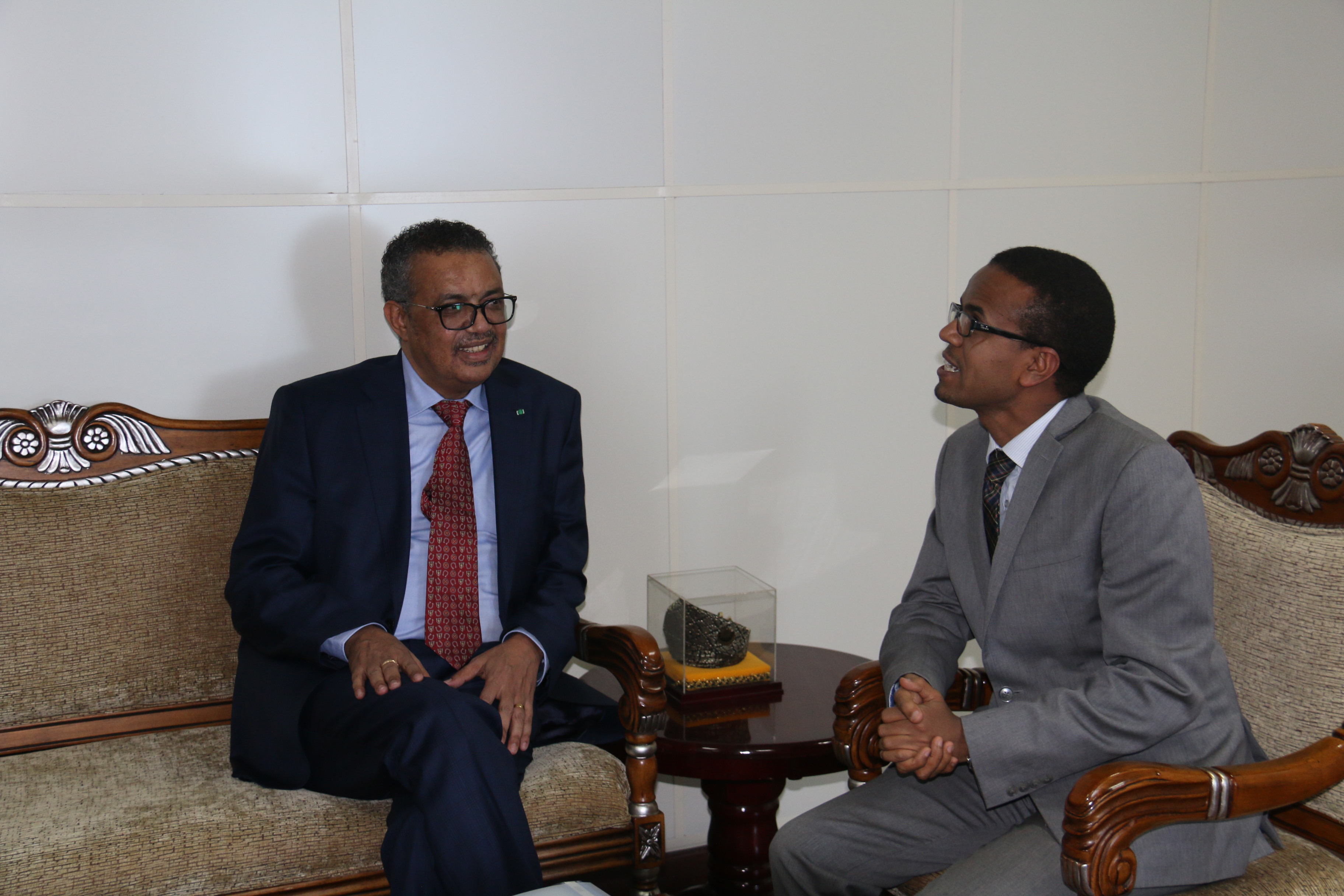 Dr Tedros discussing with H.E Dr Amir Aman, Minister, Ministry of Health
