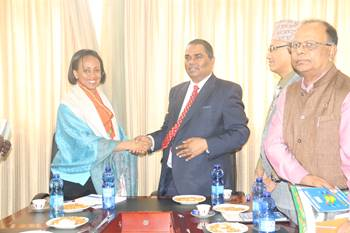 L to R:H.E. State Minister of Health-Programs, Dr. Lia Tadesse and H.E. Mr Upendra Yadav, Deputy Prime Minister and Minister of Health and Population of Nepal