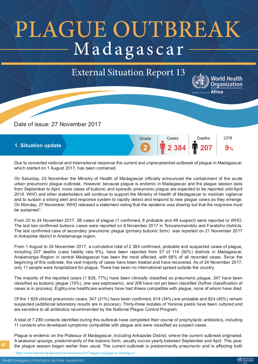 Plague outbreak situation reports | WHO | Regional Office for Africa