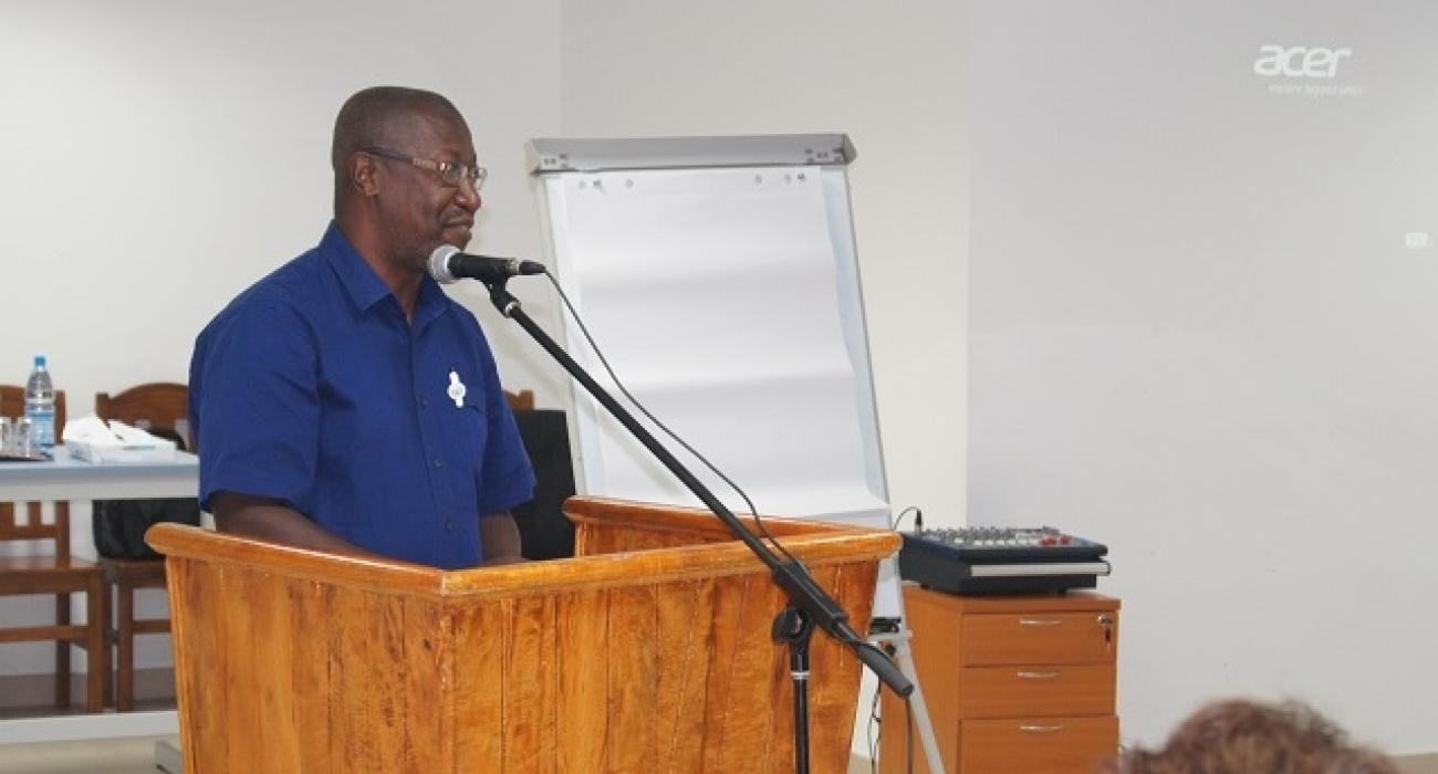 Principal Secretary for Health, Dr Bernard Valentin officially launching the one week workshop