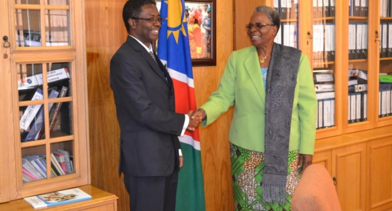 WHO Representative to Namibia, Dr Charles Sagoe-Moses shakes hands with Hon. Mrs. Netumbo Nandi-Ndaitwah, Namibia's Minister of International Relations and Cooperation