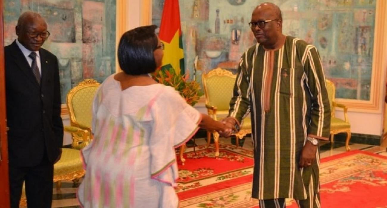 Dr Moeti duing visit to President Roch Marc Christian Kaboré of Burkina Faso