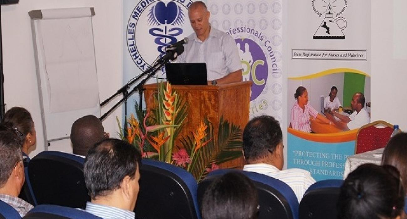 Minister of Health officially launching the PCC symposium