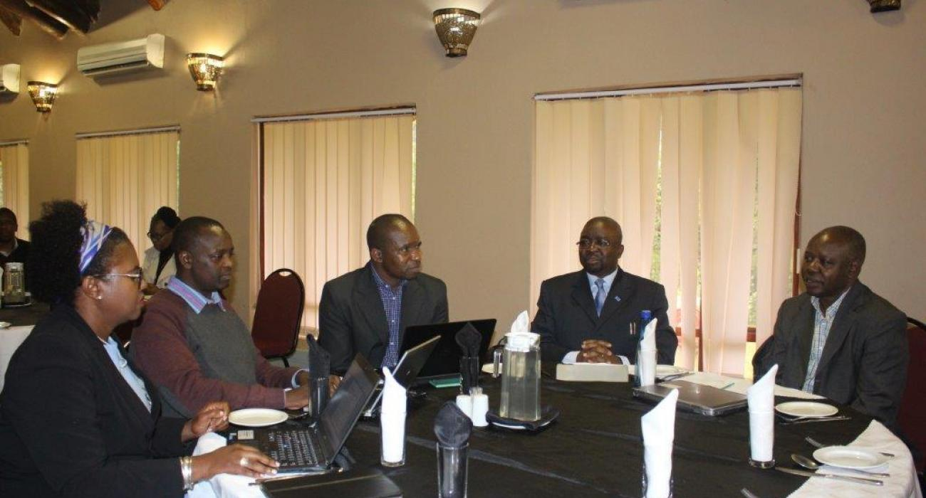 The team of consultants - Ms Zorodzai Machekanyanga, Mr Brine Masvikeni, Dr Mutale Mumba from WHO/IST, Dr Kazoka Antony-WHO Tanzania and Mr Kiptoon Shem- WHO Kenya during the MR IPV Post Introduction Evaluation debriefing meeting at Sibane Hotel in Ezulwini