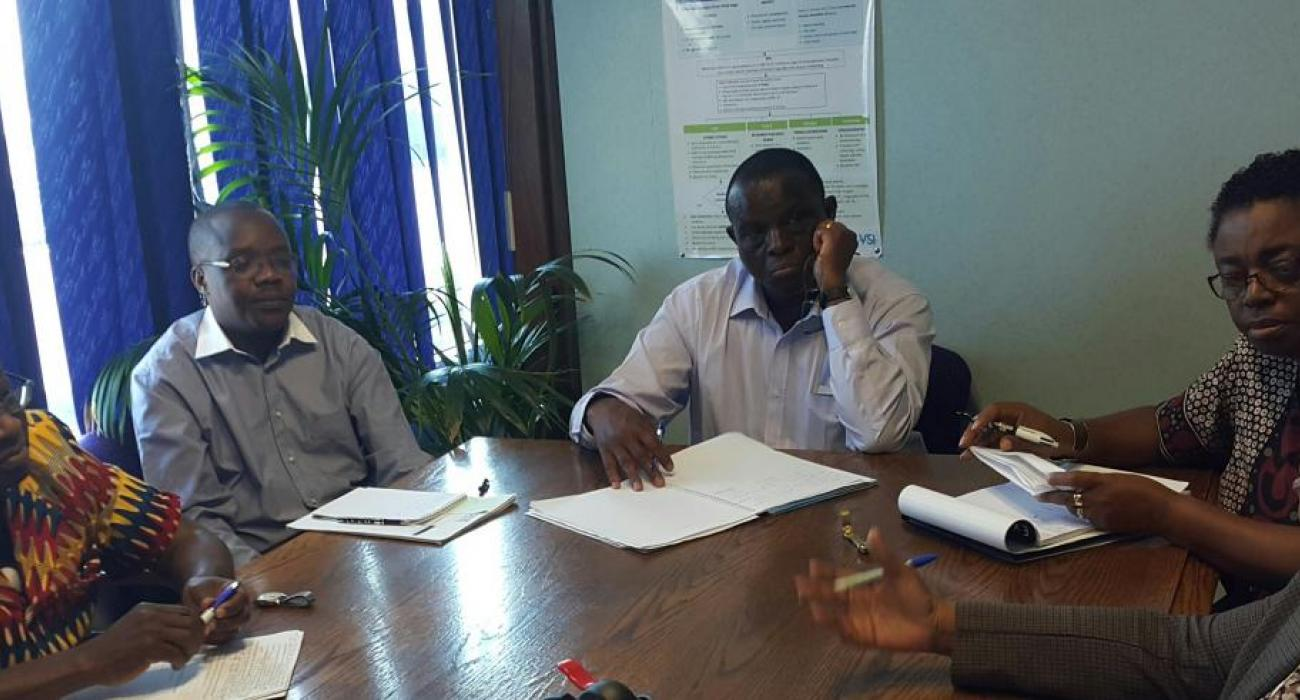 One of the Joint TB and HIV Review teams interviewing Dr Seipone, the Director of Health Services
