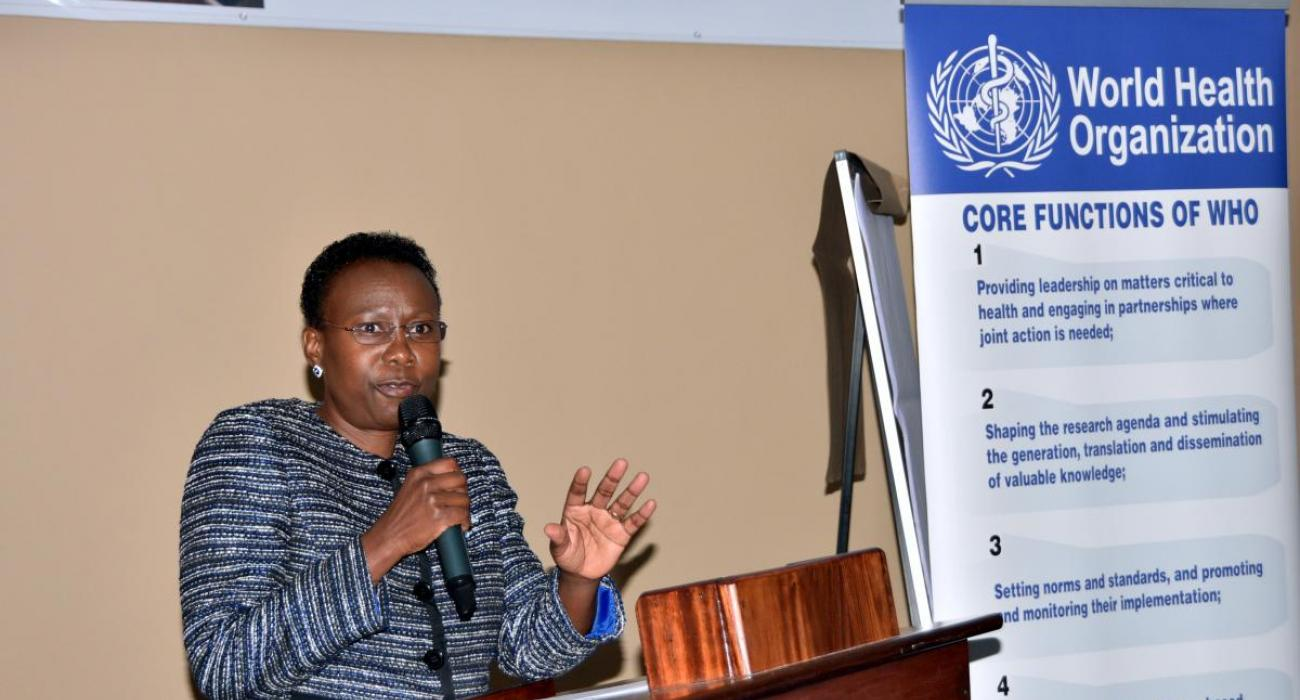 Minister of Health, Uganda, Dr Aceng makes her remarks at the opening of the meeting