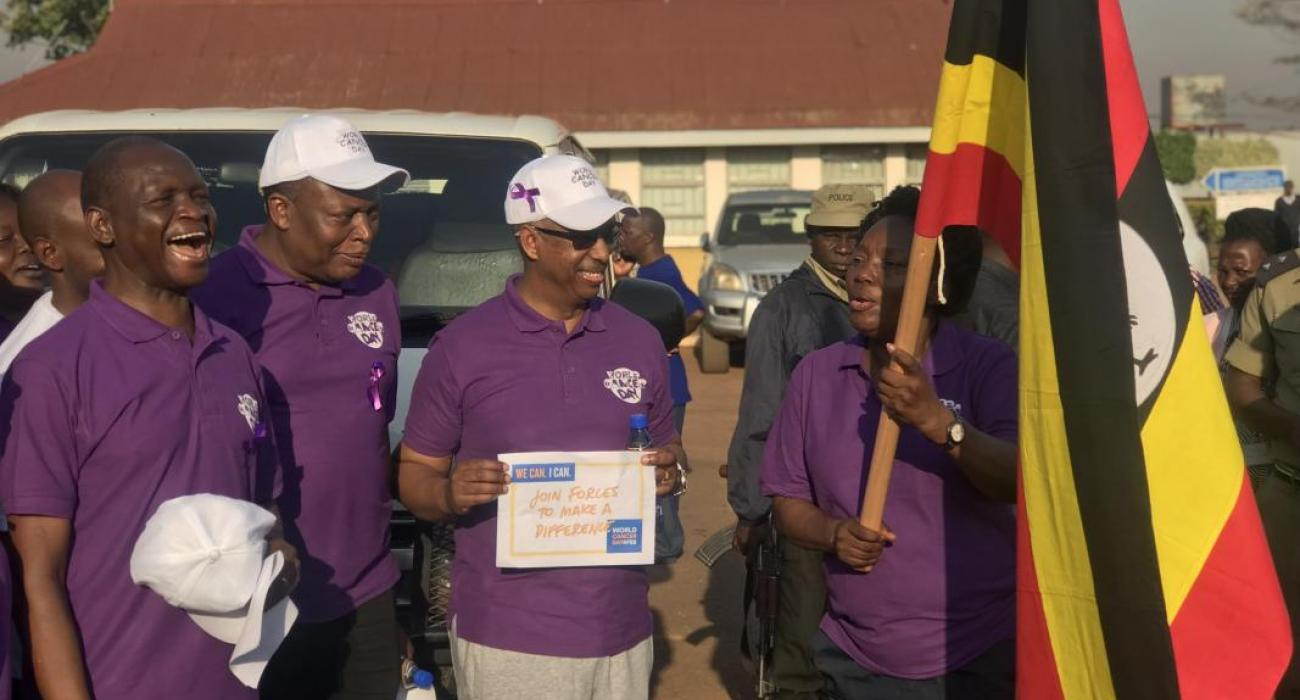 Speaker of Parliament flags off the cancer day walk as WHO Representative looks on