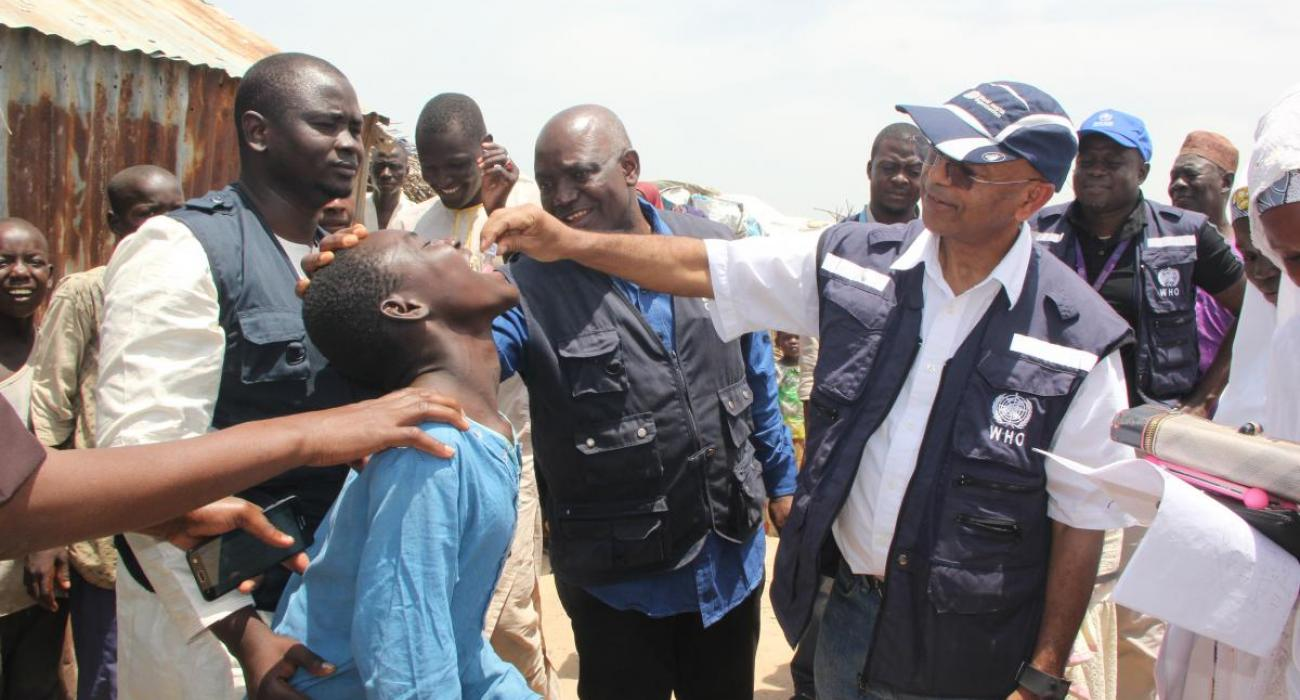 WHO Country Representative administering OCV in an IDP camp of Borno state in 2017