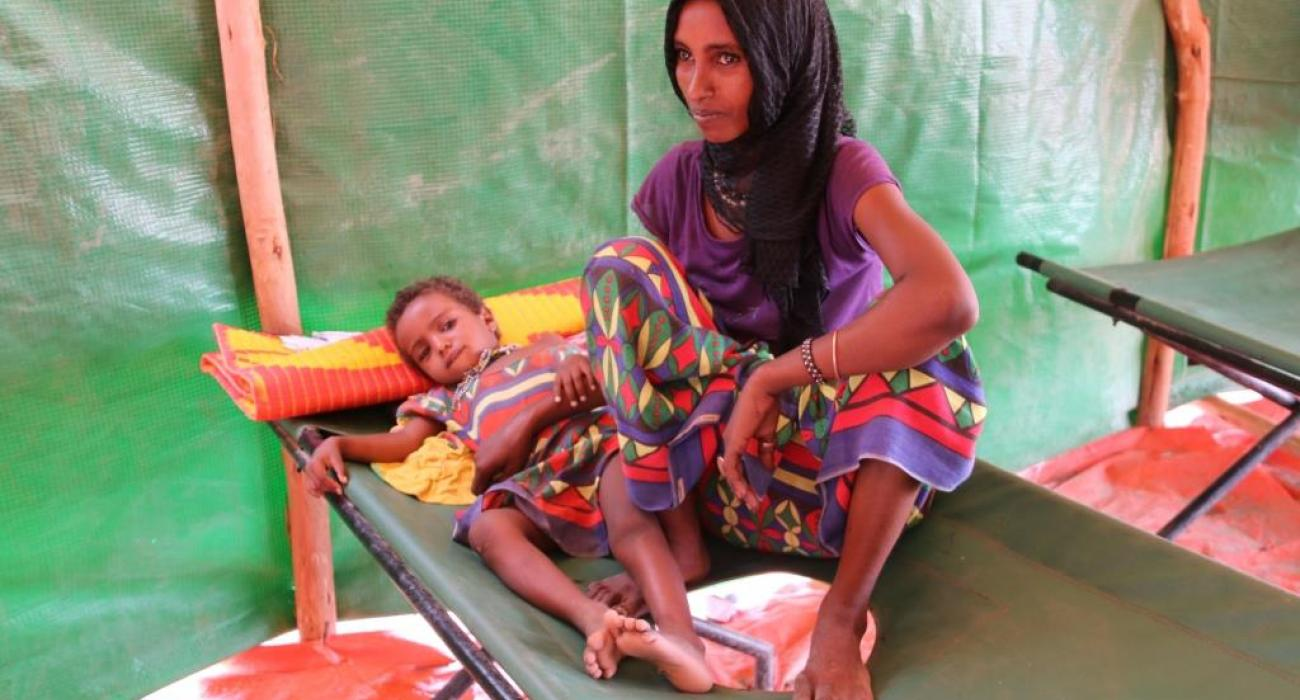 Asawka recovering at the treatment unit at Ferede Health Centre, Afar