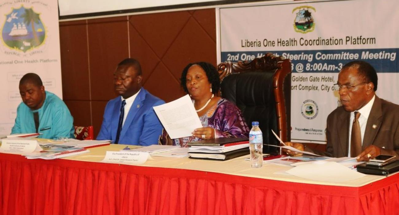 From (L-R) Agriculture Minister, Mr. M. Flomo, NPHIL Director General, Mr. T. Nyenswah, Vice President Mrs. J. H. Taylor and Deputy Health Minister Dr. F. Kateh at the 2nd  One Health Coordinating Platform meeting in Monrovia