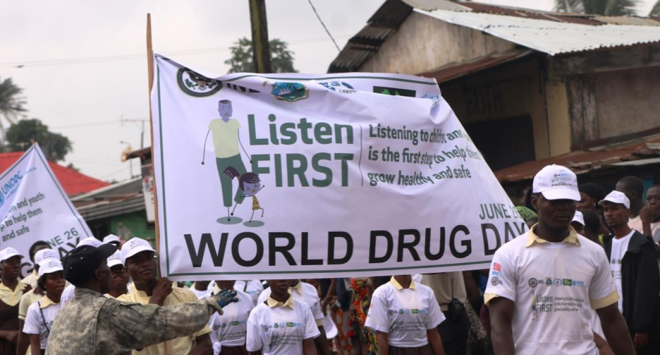 Cross session of students during  the  parade on World Drug Day in Monrovia