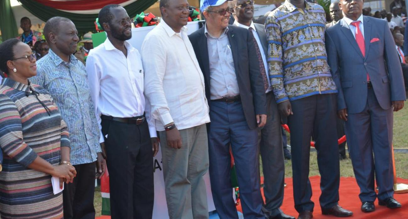 Dr Tedros with President Uhuru Kenyatta (on his left) and other Kenyan leaders during the UHC programme roll out, Kisumu city