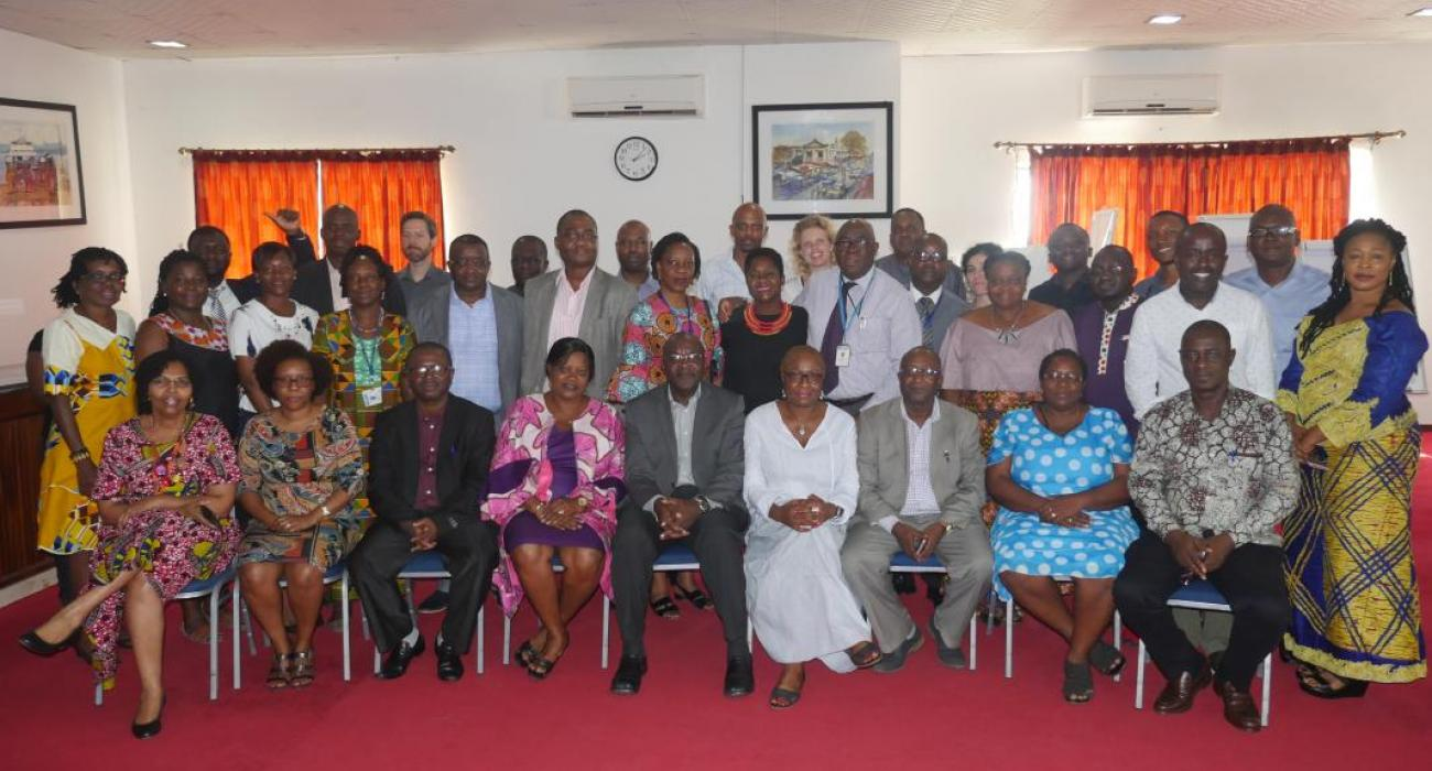 Group photo of the senior managements and technical officers of the WHO Country Office in Sierra Leone and the Ministry of Health and Sanitation