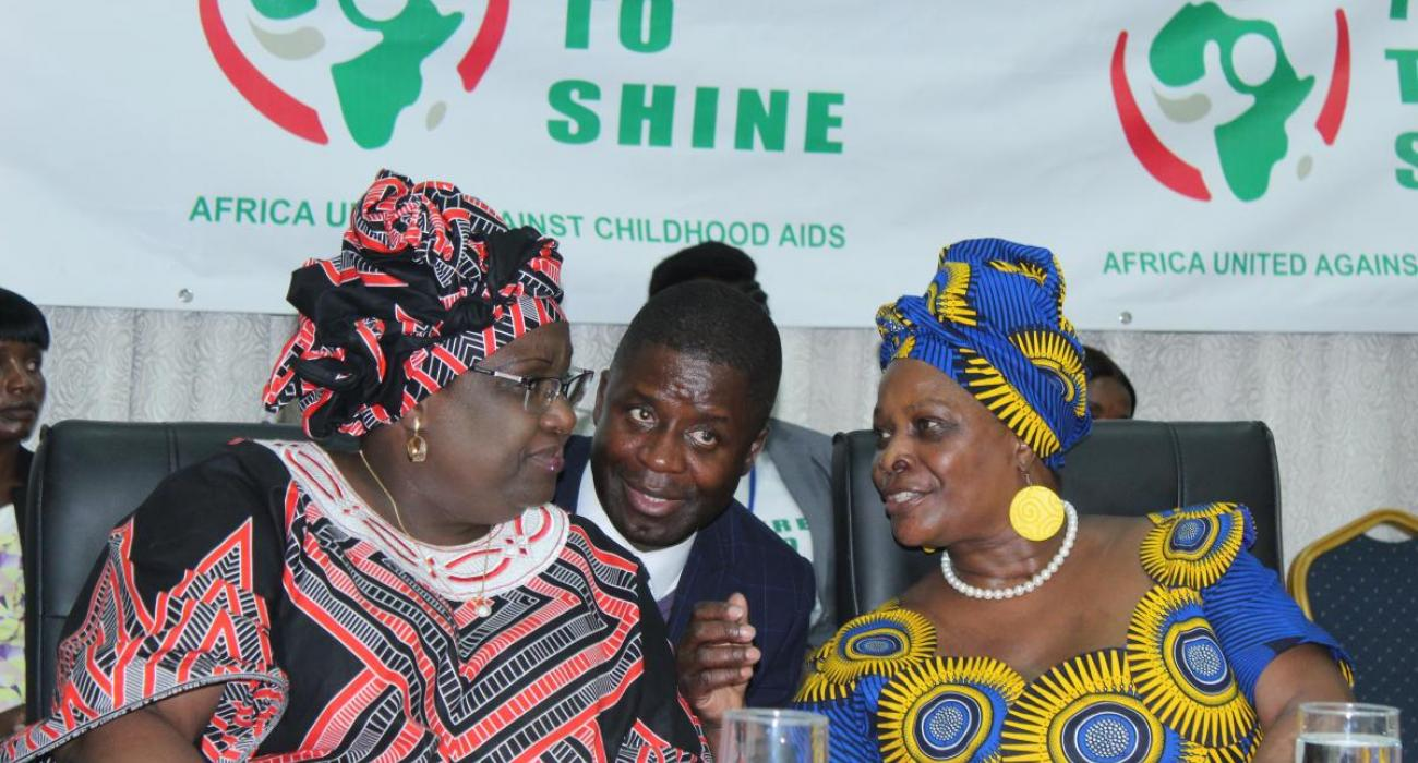 The First lady of the Republic of Zambia, Mrs Esther Lungu (right) with the First Lady of the Republic of Mozambique at the launch