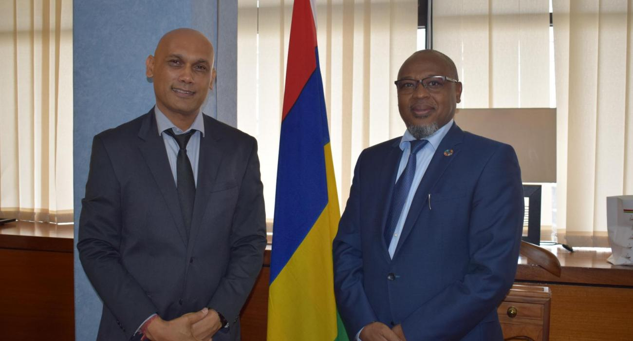Newly appointed Minister of Health and Wellness, Dr Hon K. Jagutpal and Dr L. Musango, WHO Representative in Mauritius during the courtesy call