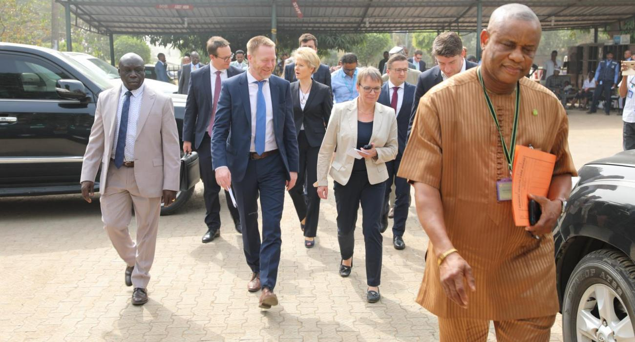 The Executive Secretary FCT PHC leading the German Parlimentarians and WHO OiC into to PHC Facility