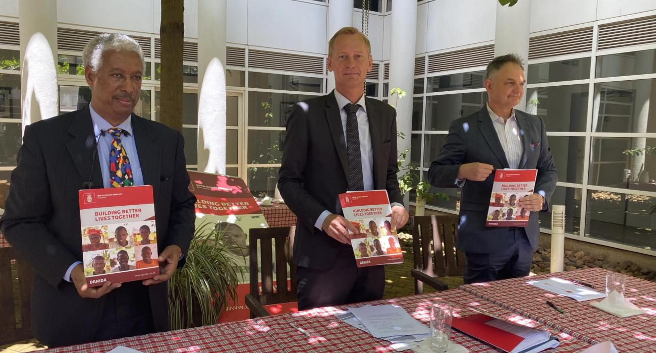 L:R- WHO Representative Dr Yonas Tegegn, Danish Ambasador in Uganda, H.E Nicolaj Petersen and UNFPA Representative Mr Alain Sibenaler at the grant signing ceremony