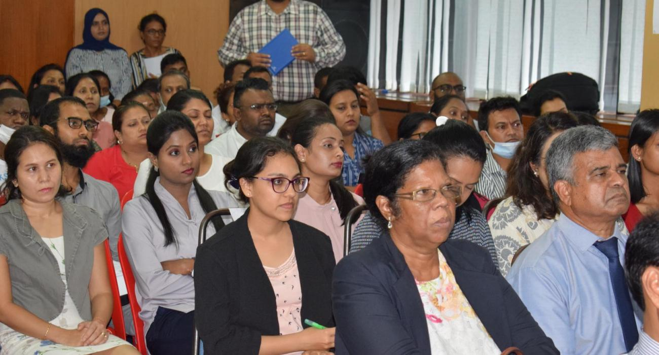 Health workers participating in the COVID-19 Vaccination Training at the Health Club of the Ministry of Health and Wellness, Mauritius on 11 January 2021
