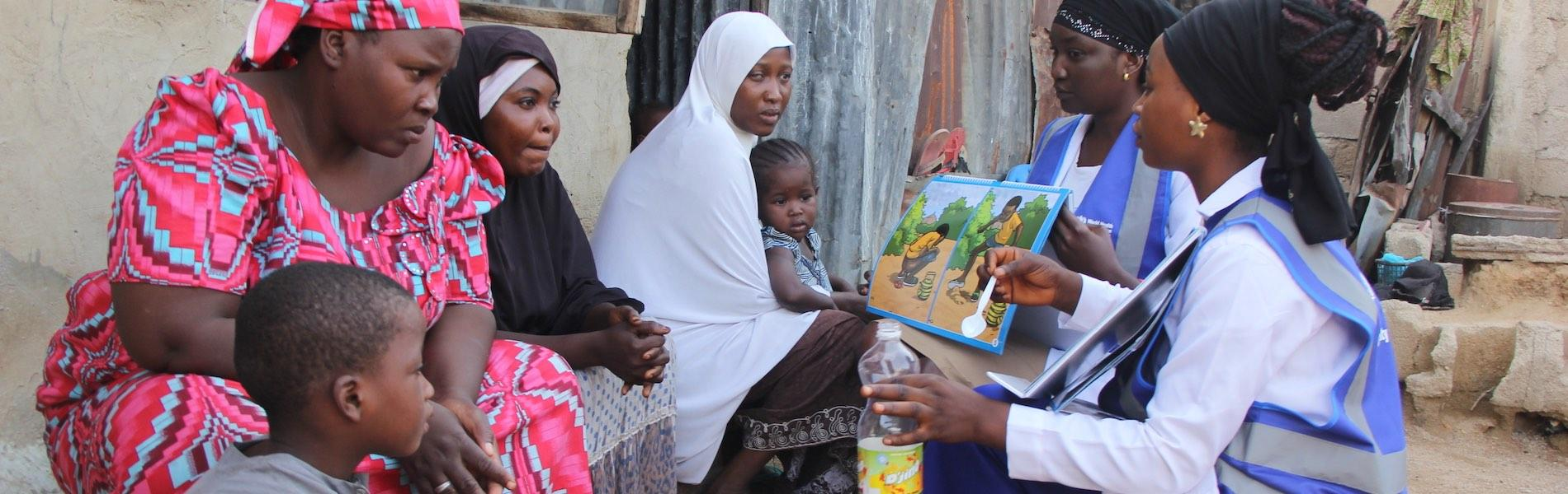 Female community health champions meeting with families in Adamawa State (Photo courtesy Chima Onuekwe, WHO Nigeria)