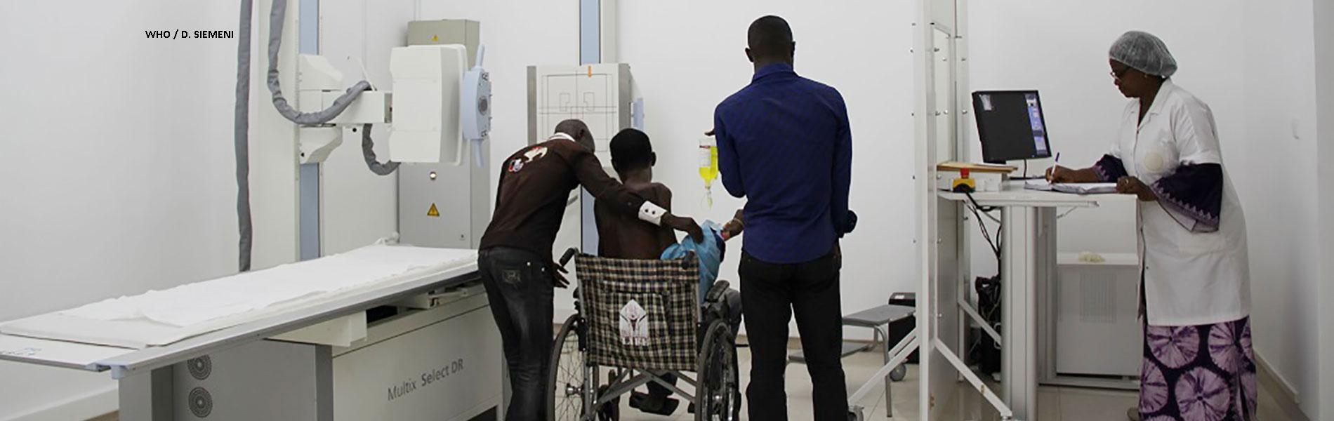 Medical staff help a sickle cell patient at Brazzaville's CNRD