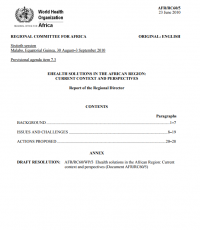 Working Document. eHealth solutions in the African Region: current context and perspectives (AFR/RC60/5, 2013)