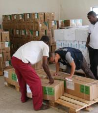 The logistics team working with the Regional Health Bureau ensures prompt dispatch of medicines and supplies to all locations where they are needed.